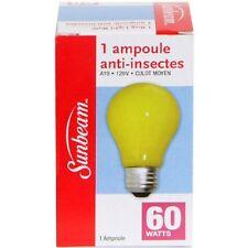Lot of 2 New Sunbeam Bug Light 60-Watt Anti-Insect Yellow Light Bulbs