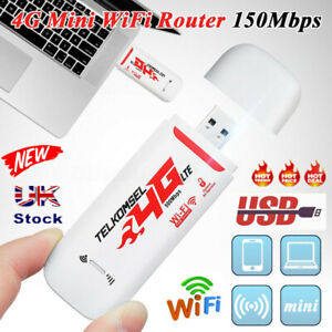 UK Unlocked 4G LTE Wireless WIFI USB Dongle Stick Mobile Hotspot Modem SIM Card