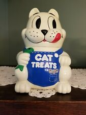 """Cat Treats"" Meowing Fat Cat Shaped Cat Treat Container"