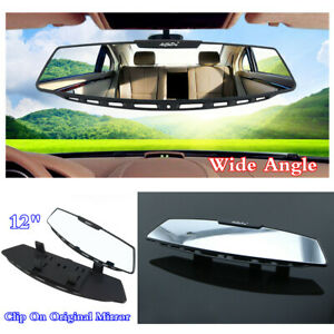 "Clip-On 12"" Curve Convex Car Interior  Rear View Mirror Wide-angle Large Screen"