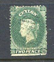 39601) Ceylon 1863 Used 2p Green Yvert & Tellier #33
