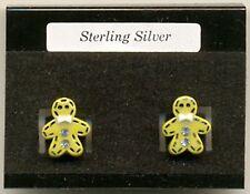 Crystal Gingerbread Man Sterling Silver 925 Studs Earrings Carded