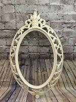 Vintage 1962 Syroco, Inc. Ivory Oval Ornate Plastic Mirror Frame Shabby Chic