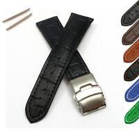 Genuine Leather Watch Strap Band Alligator Grain Clasp Men's 18mm 20mm 22mm 24mm