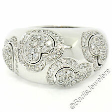 Pasquale Bruni 18K White Gold 1.75ctw Diamond Heart Wide Heavy Band Ring Sz 8.5