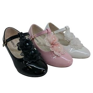 GIRLS CHILDRENS KIDS PARTY HEELS ROSE PEARL FORMAL PRINCESS COURT SHOES SIZE