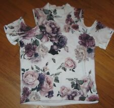 Gaze Junior's Bloue Cold Shoulder Sexy Floral Stretch Rose Print Size Medium NEW