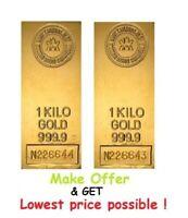 2 kilo ( PAIR ) Royal Canadian Mint RCM Gold Bar .9999 Fine