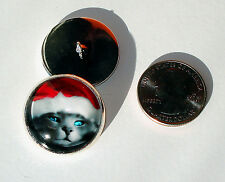 """Christmas Grey Cat 1"""" Glass Dome Button collectible shank style sew or pin on"""