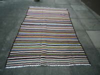 "Old Handmade Tribal Oriental Wool & cotton colourful Kilim 229x138cm 7'8""x4'"