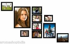 Photo Frame With 10 Photo Collages in different Size In Brown Colour Frame