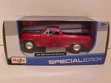1965 Chevy El Camino Pick-up Truck Die-cast Car 1:25 by Maisto 8 inch Red Wine