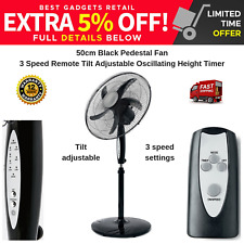PEDESTAL FAN 50CM BLACK 3 SPEED WITH REMOTE TILT & OSCILLATING HEIGHT & TIMER