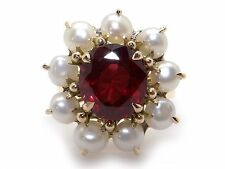 14k Yellow Gold 4ct Round Cut Garnet Pearl Cluster Cocktail Band Ring Size 6.25