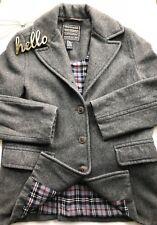 Women ABERCROMBIE sz MEDIUM Gray Plaid Lining Wool Blend Jacket Coat ITALY