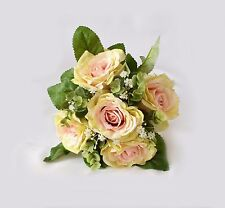 Artificial Pink & Ivory Roses and Greenery Flower Bouquet weddings home floral