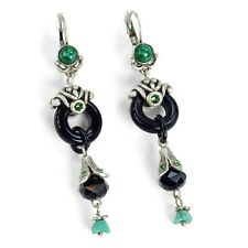 NEW SWEET ROMANCE ART DECO BLACK AND SILVER GLASS JADE ASIAN STYLE EARRINGS