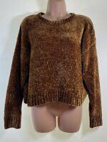 NEW LOOK autumnal orange soft chenille knit boxy jumper size M Medium 12 euro 40