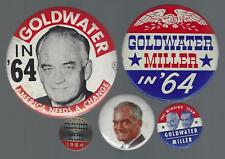 1964 BARRY GOLDWATER & B. MILLER POLITICAL CAMPAIGN BUTTON GROUP B