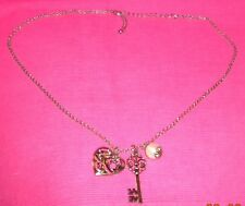 Fashion Jewellery - Gold Chain With Key, Love Heart & Faux Pearl Pendant.63cm.