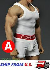 1/6 Men White Tank Top Underwear Set For Phicen M34 M33 Muscular Figure