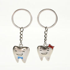 1 Pair Cute Tooth Couple Metal Keychain Keyring Gift For Lover Children Friend *