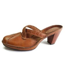 Clarks Artisan Womens Size 9 Tan Leather Covered Heel Strappy Mules  Shoes 77602