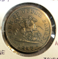 Canada 1857- Bank of Upper Canada, Penny Uncirculated Collectible Bank Token