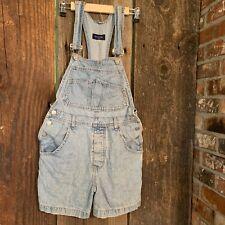 Guess Vintage Lt Blue Denim Jean Bib Overall Shorts Shortalls Button Fly Womens