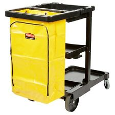 Rubbermaid Janitorial Cleaning Cart Black Plastic Fg617388bla