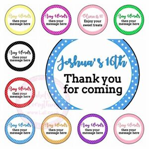 Personalised Polka Dot Birthday Party Sweet Cone Favours Bag Stickers Gift Treat