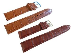 Wrist Watch Band, Braun, Pin Buckle,Normal Length,Leather,Bracelet for Watches