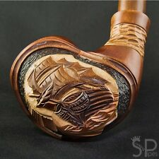 """*Ship* Handcarved pear tobacco smoking pipe (for 9mm filter)   pipes -7.1""""(18cm)"""