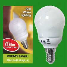 2x 7W Low Energy CFL Round Mini Golf Light Bulbs SES E14 Small Edison Screw Lamp