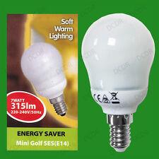 4x 7W Low Energy CFL Round Mini Golf Light Bulbs SES E14 Small Edison Screw Lamp