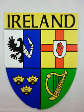 Window & Bumper Sticker - IRELAND, 4 County Crest Shield Car Sticker. IRISH GIFT