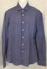 Kiton Shirt Medium Blue And White Cotton Button Down 17 1/2×44