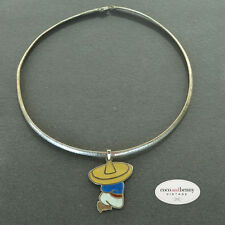 *Vintage Mexican Silver Enamel Man on Flat Silver Chain NECKLACE