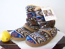 MukLuks Womens Sweater Knit Scrunch Boot Slippers Brown Nordic sz Small 5/6 NEW