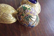 Vintage Cloisonne Egg inside Egg with Cobalt Blue Floral Birds Motif