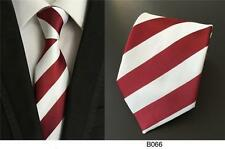 Dark Red and White Stripe Patterned Handmade 100% Silk Wedding Tie