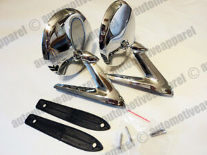 VINTAGE CHROME ROUND METAL MIRRORS CLASSIC MUSCLECAR RESTO HOTROD COMPLETE KIT