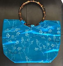 Formal Japanese Silk Turquoise Handbag / Purse with Double round bamboo handles