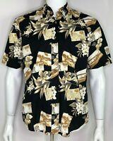 Prop Plane BiPlane Trans-Atlantic Hawaiian Shirt by Royal Palm Men's Size S EUC