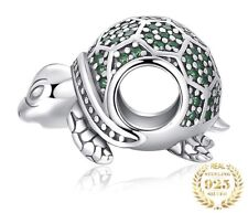 GREEN CRYSTAL SEA TURTLE CZ PAVE CHARM GENUINE S925 STERLING SILVER