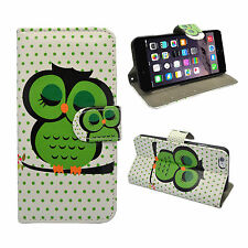 CASE FOR APPLE IPHONE 6/6S WHITE GREEN SLEEPING OWL DESIGN WALLET COVER