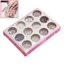 12 Colori Nail Art Glitter Tips Decorazione Polvere Set Kit per Gel UV Acrilico