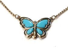 Bijou  alliage doré collier créateur papillon bleu  AVON necklace