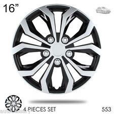 """New 16"""" Hubcaps Spyder Performance Black and Silver Wheel Covers For Toyota 553"""