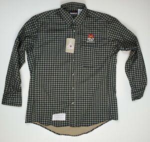Bulwark FR Flame Resistant Long Sleeve Shirt Green Blue Tan PLAID NEW With TAGS